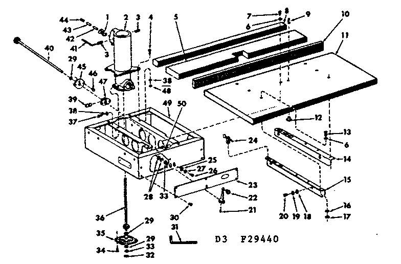 Craftsman 11329440 fence and base assembly diagram