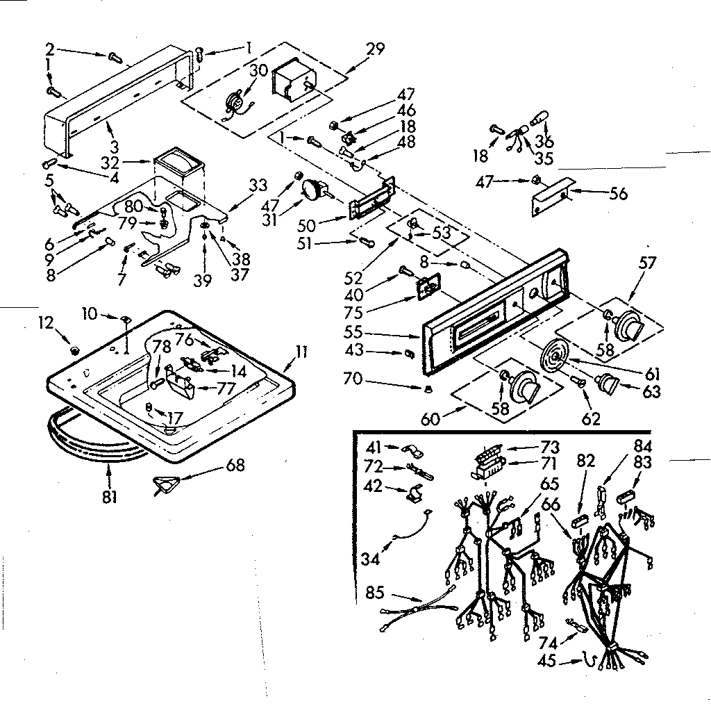 Kenmore 1107014663 top and console assembly diagram