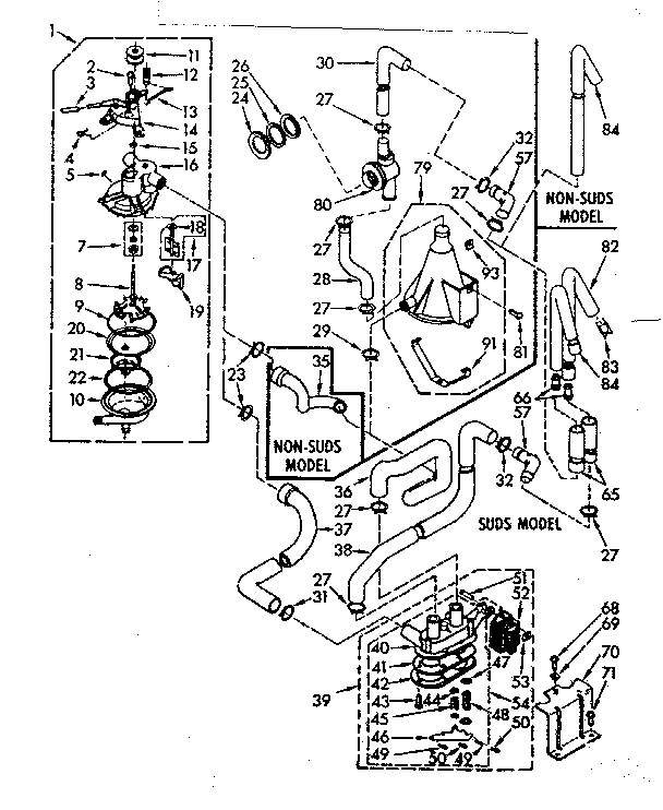 Kenmore 1107015802 tub and basket assembly diagram