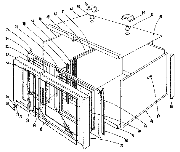 Kenmore 1019166400 oven structure section diagram