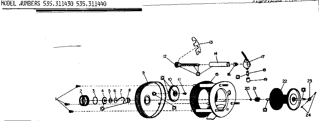 Sears 535311440 bait casting reel assembly diagram