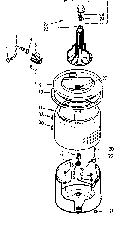 Kenmore 1107114033 tub and basket assembly diagram