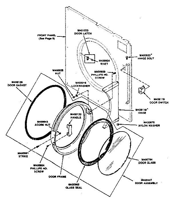 Huebsch  Commercial Dryer  Loading door and door switch