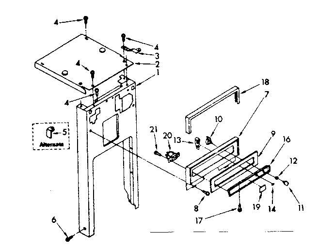 Kenmore 6651388550 panel and control parts diagram
