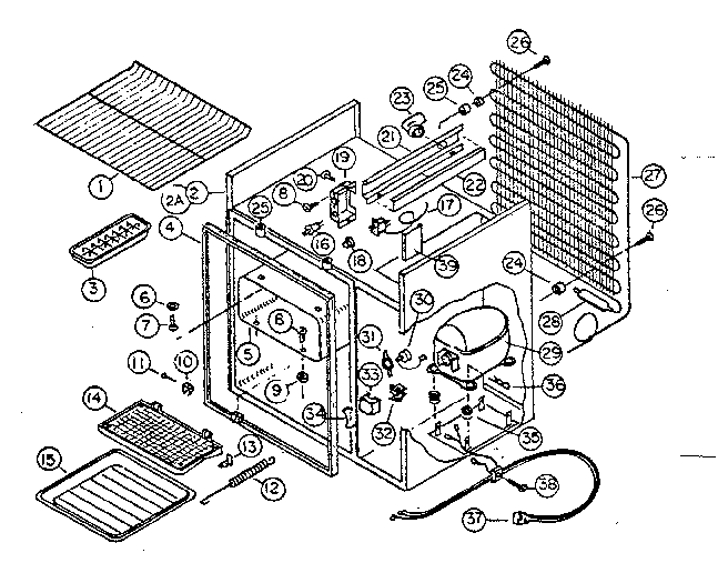 Kenmore 6127995323 refrigeration system and cabinet diagram