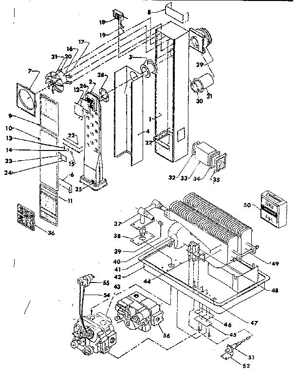 Continental RFD65-ON furnace assembly and control assembly diagram