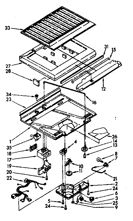 Kenmore 1069608001 compartment separator and control parts diagram