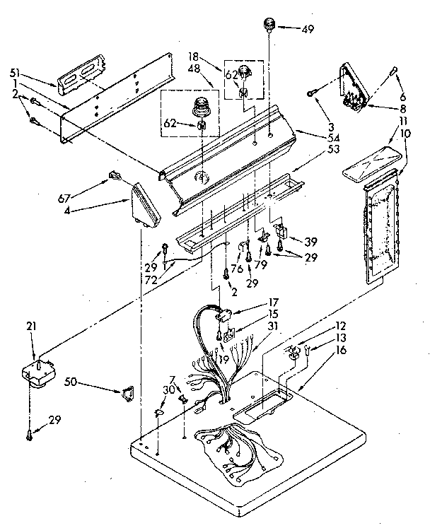 Whirlpool LE7800XSN2 top and console diagram