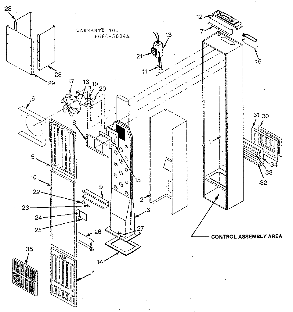 Sears 629776851 cabinet and body assembly diagram