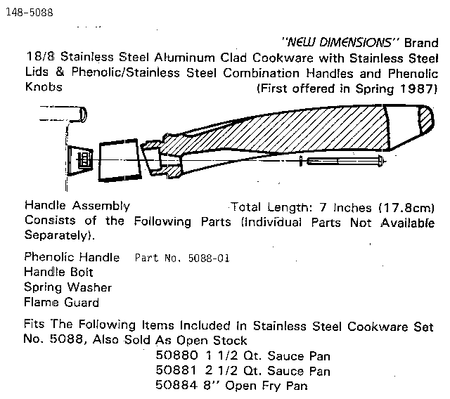 Nanam 148-5088 handle assembly-7 inches diagram