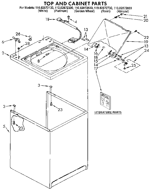 Kenmore 11082872330 top and cabinet parts diagram