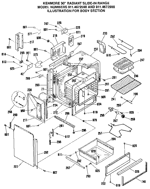 Kenmore 9114672590 body section diagram