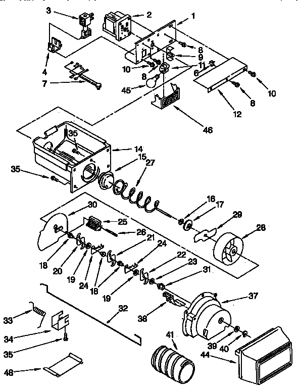 Kenmore 1069542820 motor and ice container parts diagram