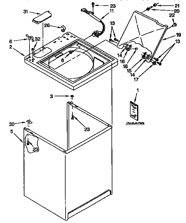 Kenmore 11092593410 top and cabinet diagram