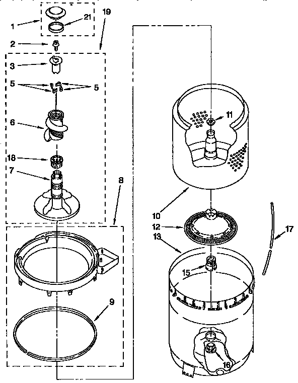 Kenmore 11092593410 agitator, basket and tub diagram