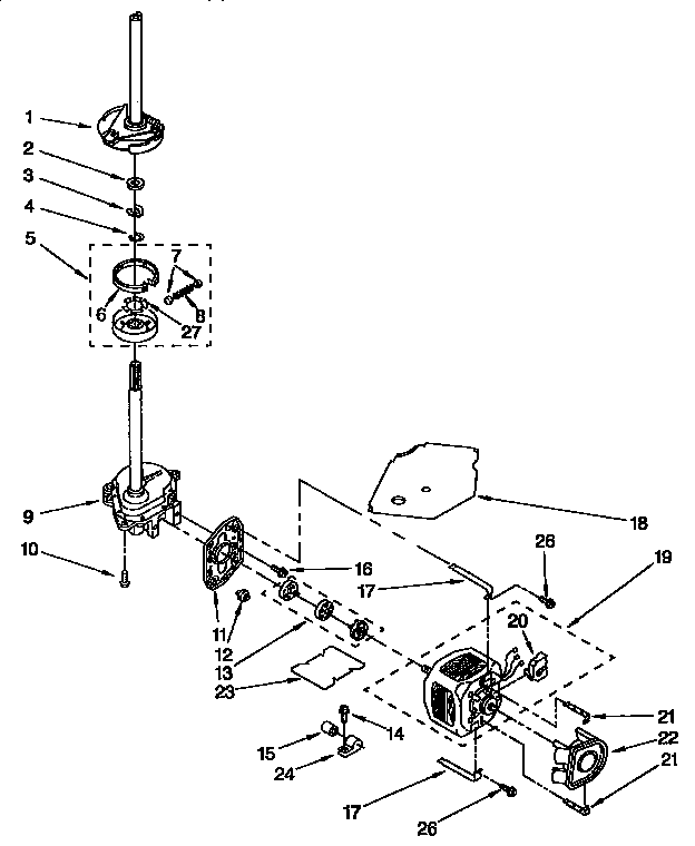 Kenmore 11092593410 brake, clutch, gearcase, motor and pump diagram
