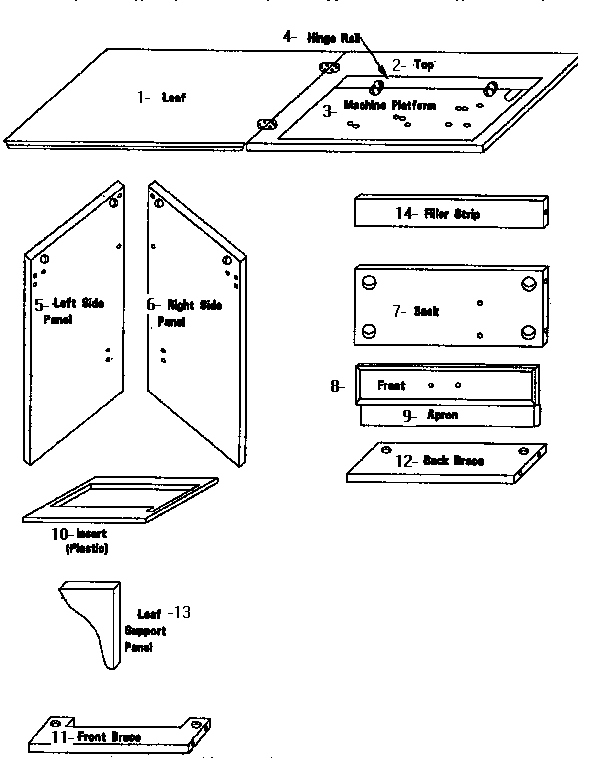 Kenmore  Sewing Machine  Wood list