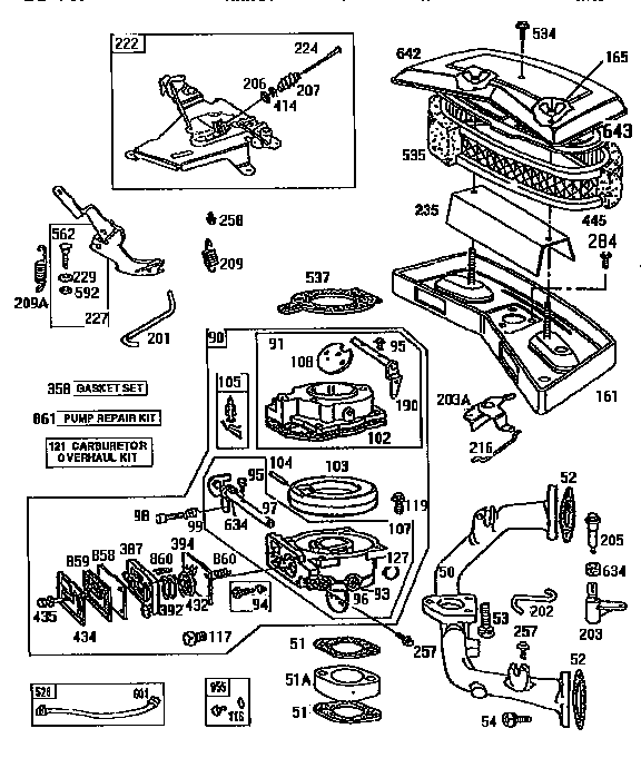 Cub Cadet Zero Turn Drive Belt Diagram additionally 1 4 Hp Murray Riding Lawn Mower Wiring Diagram further Honda Lawn Mower Parts Schematic together with Kohler Cv15s Carburetor Diagram moreover Briggs And Stratton 422707 Diagram. on snapper carburetor linkage
