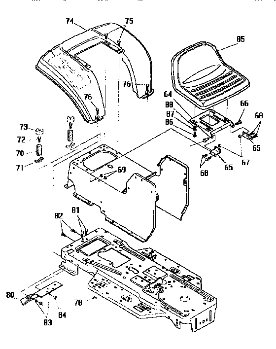 Craftsman 536252570 chassis and hood assembly diagram