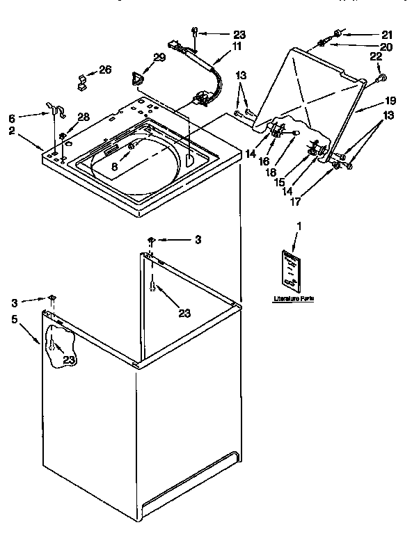 Kenmore 11092583120 top and cabinet diagram