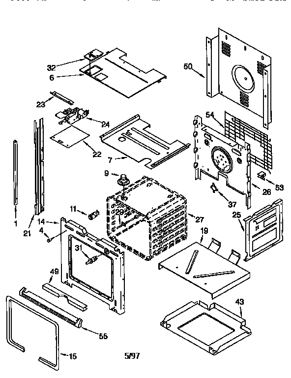 Whirlpool RBS305PDQ4 oven diagram