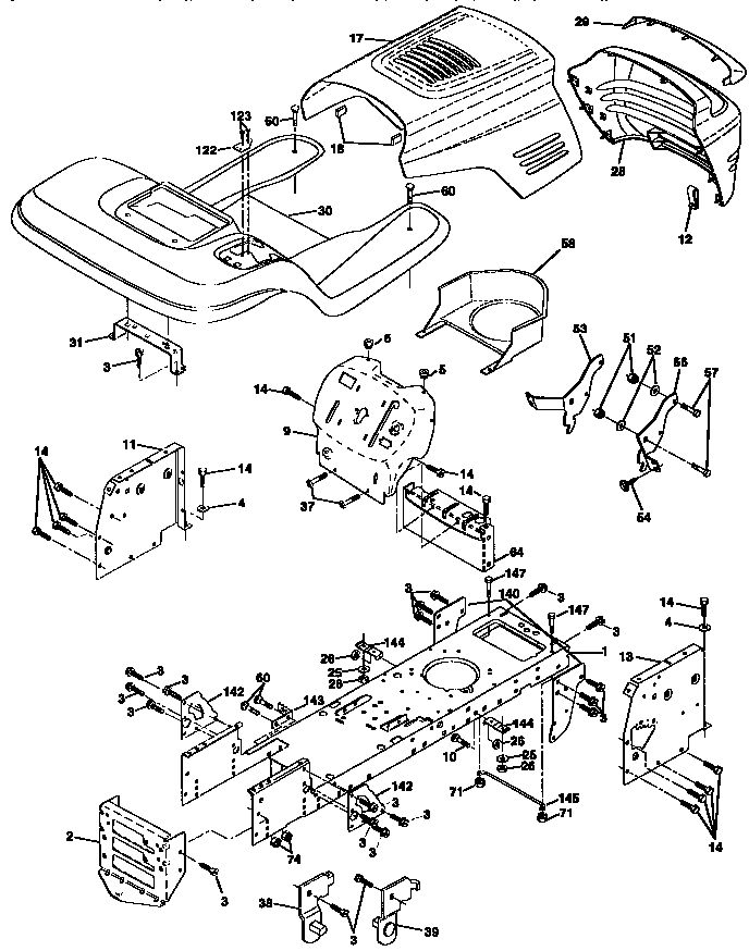 Craftsman  Tractor  Chassis and enclosures