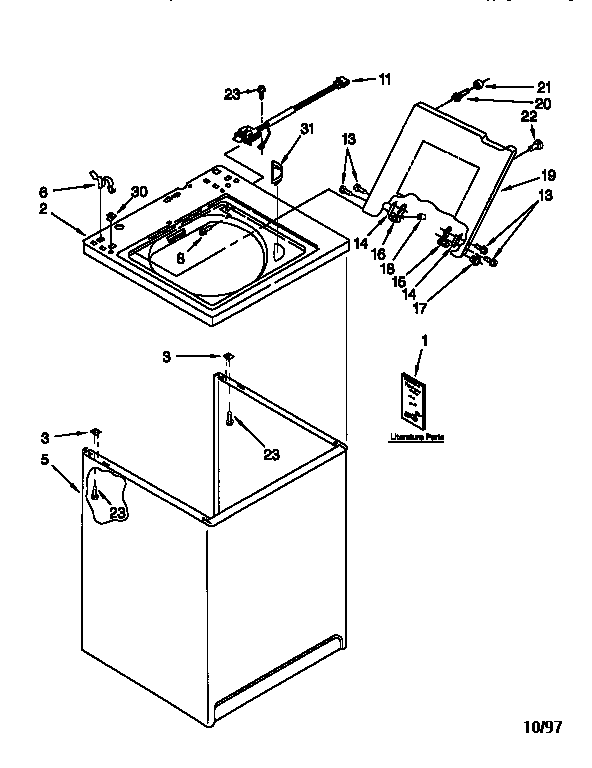 Kenmore 11016872693 top and cabinet diagram