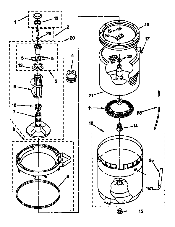 Kenmore 11016872693 agitator, basket and tub diagram
