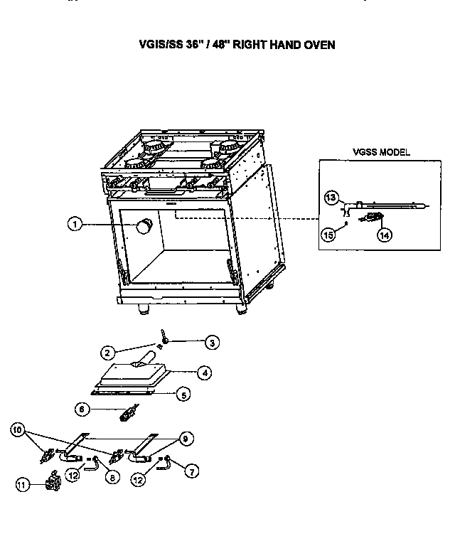 Viking Range VGSS48 gas/electrical components diagram
