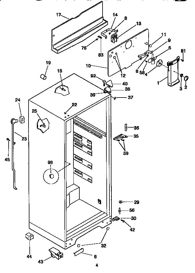 Kenmore  Top Mount Refrigerator  Cabinet parts