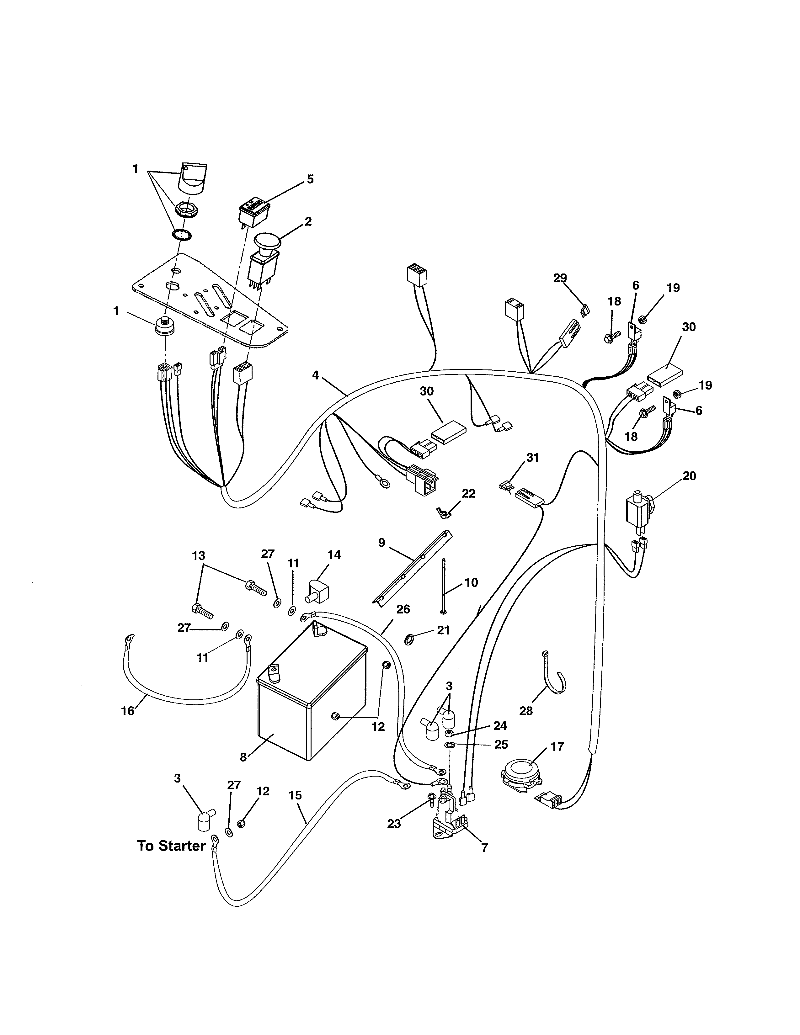 Ariens 99105600 (101-999999) electrical system diagram