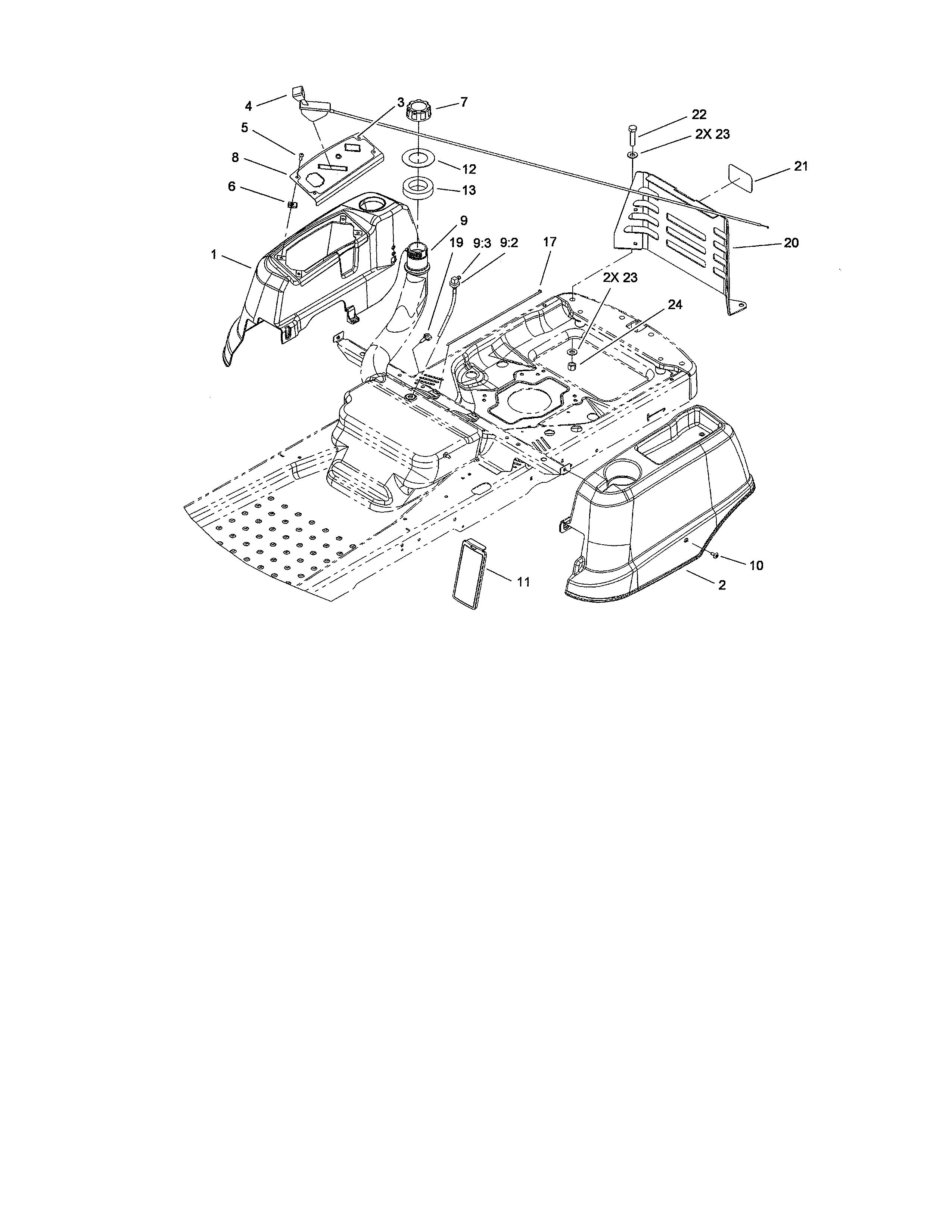 Toro  Riding Mower  Styling/fuel system
