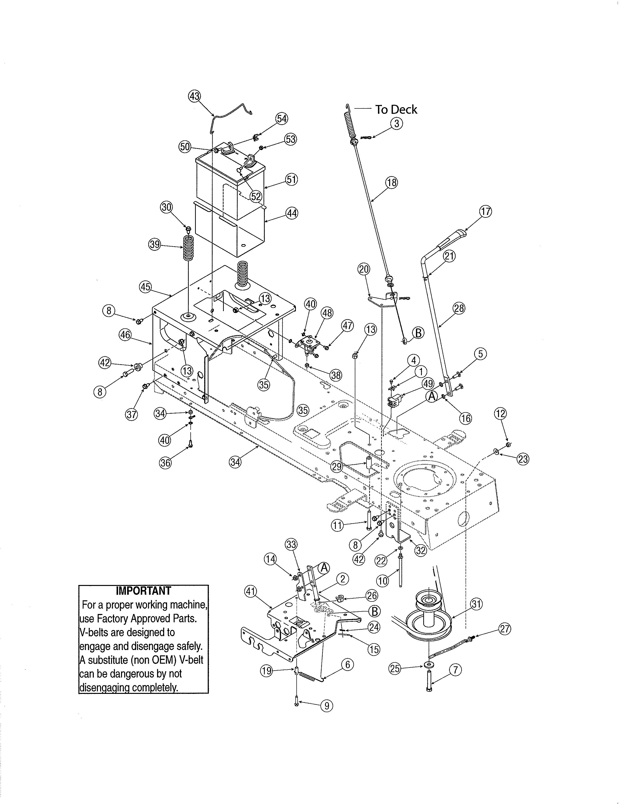 Yard-Man  Tractor  Frame/battery - 46