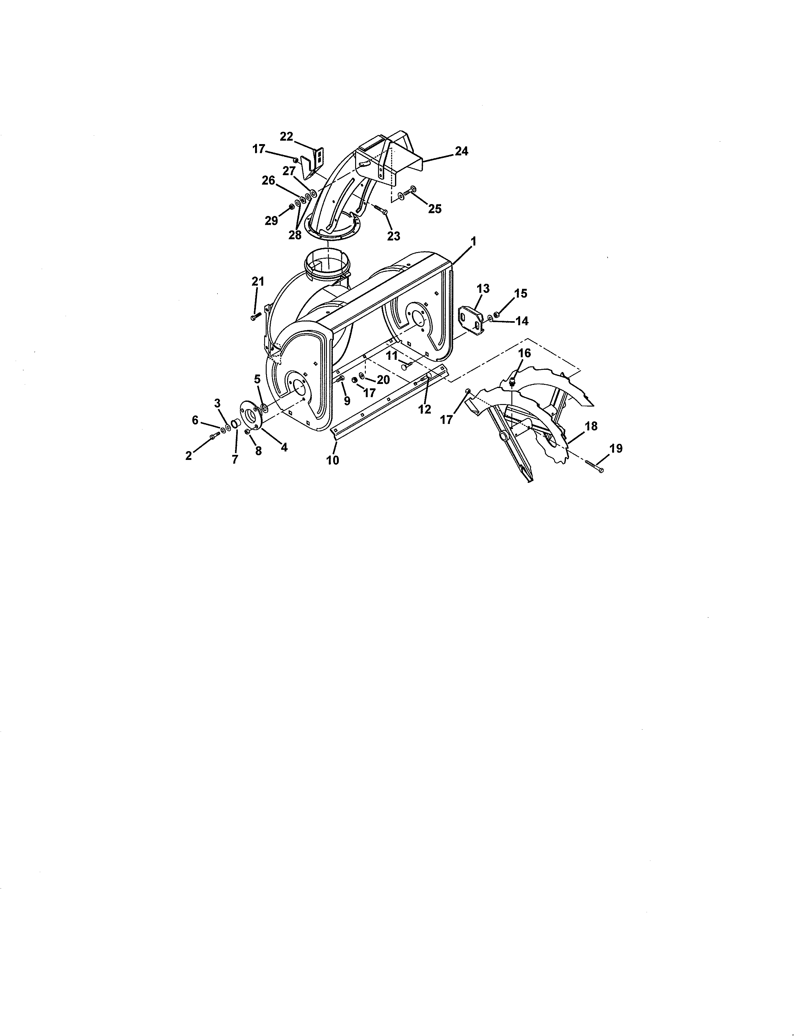 Ariens 93250500 (101-1500) auger and chute diagram