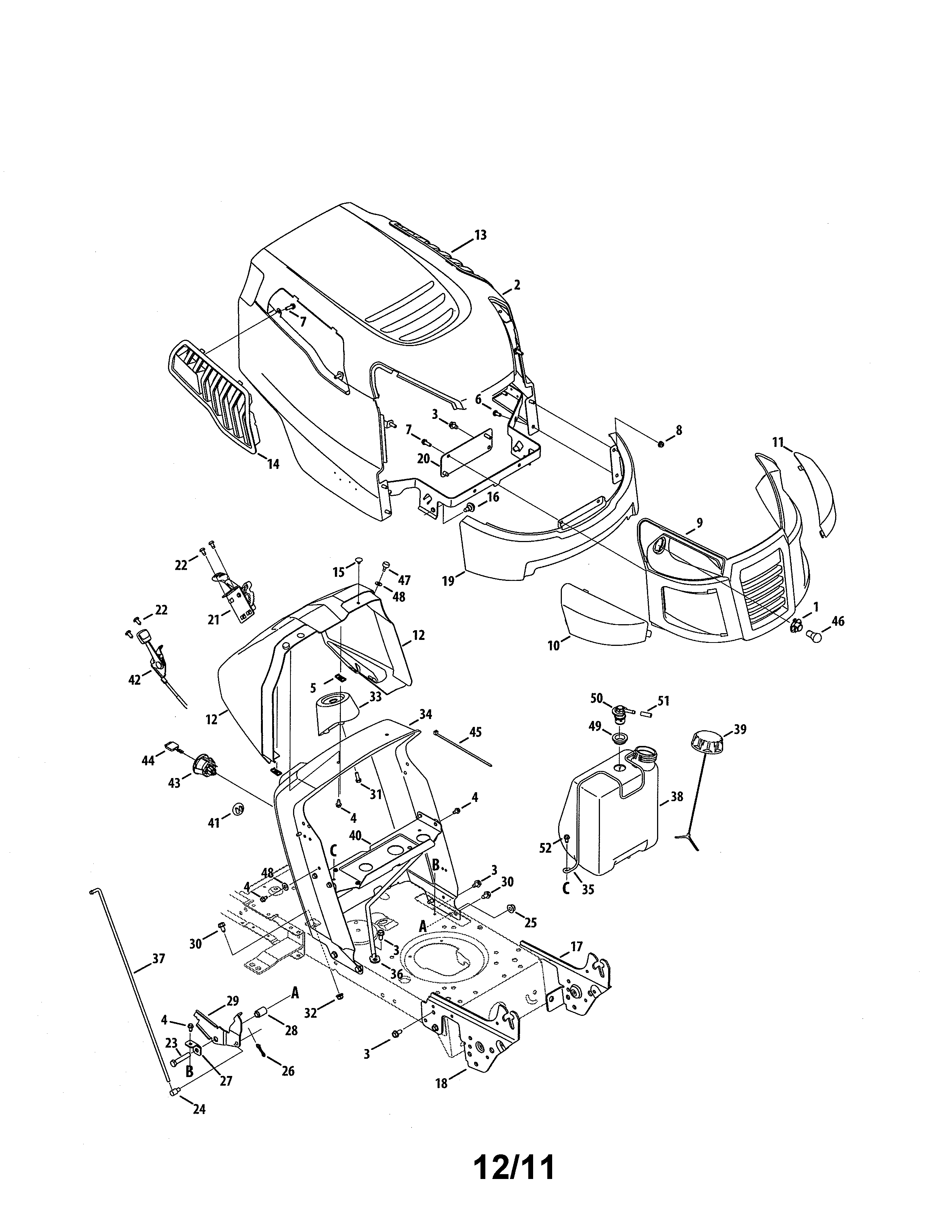 Craftsman Model 247288852 Lawn Tractor Genuine Parts Briggs And Stratton Engine Diagram List For