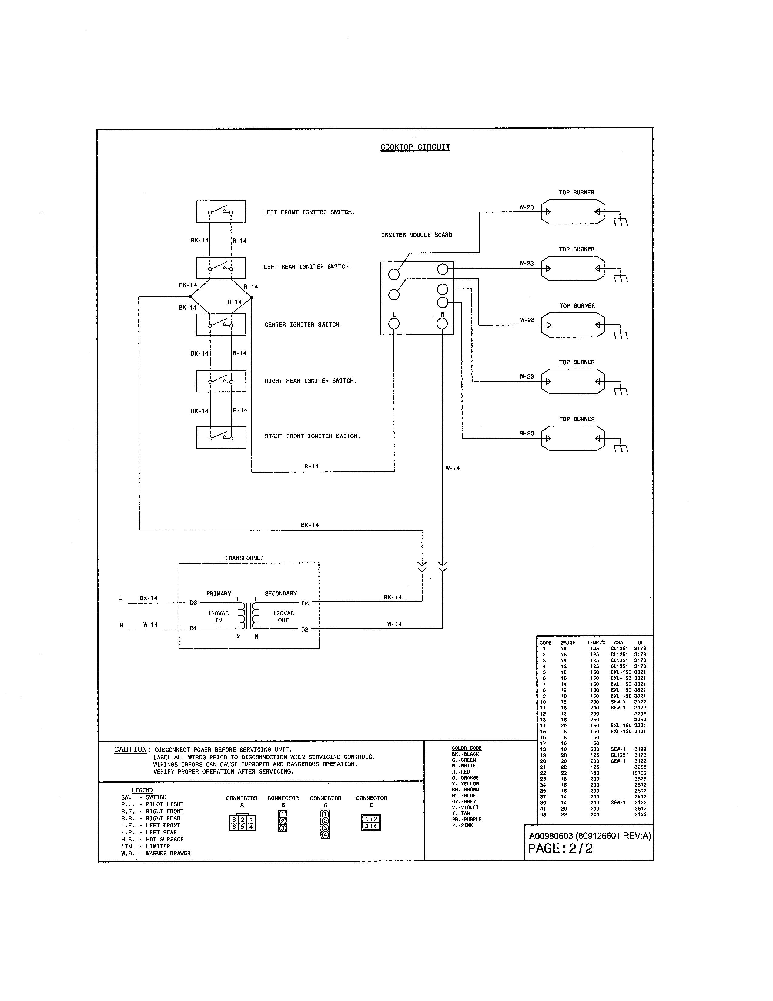 Kenmore Elite  Gas Range  Wiring diagram