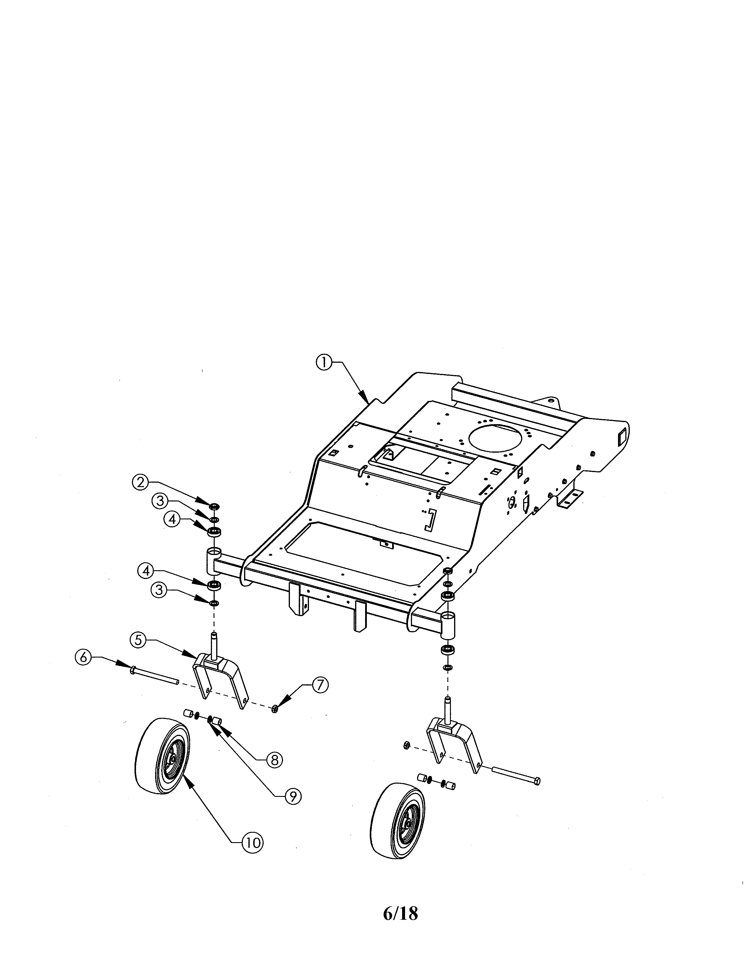 Swisher ZT2452A caster/front wheel diagram