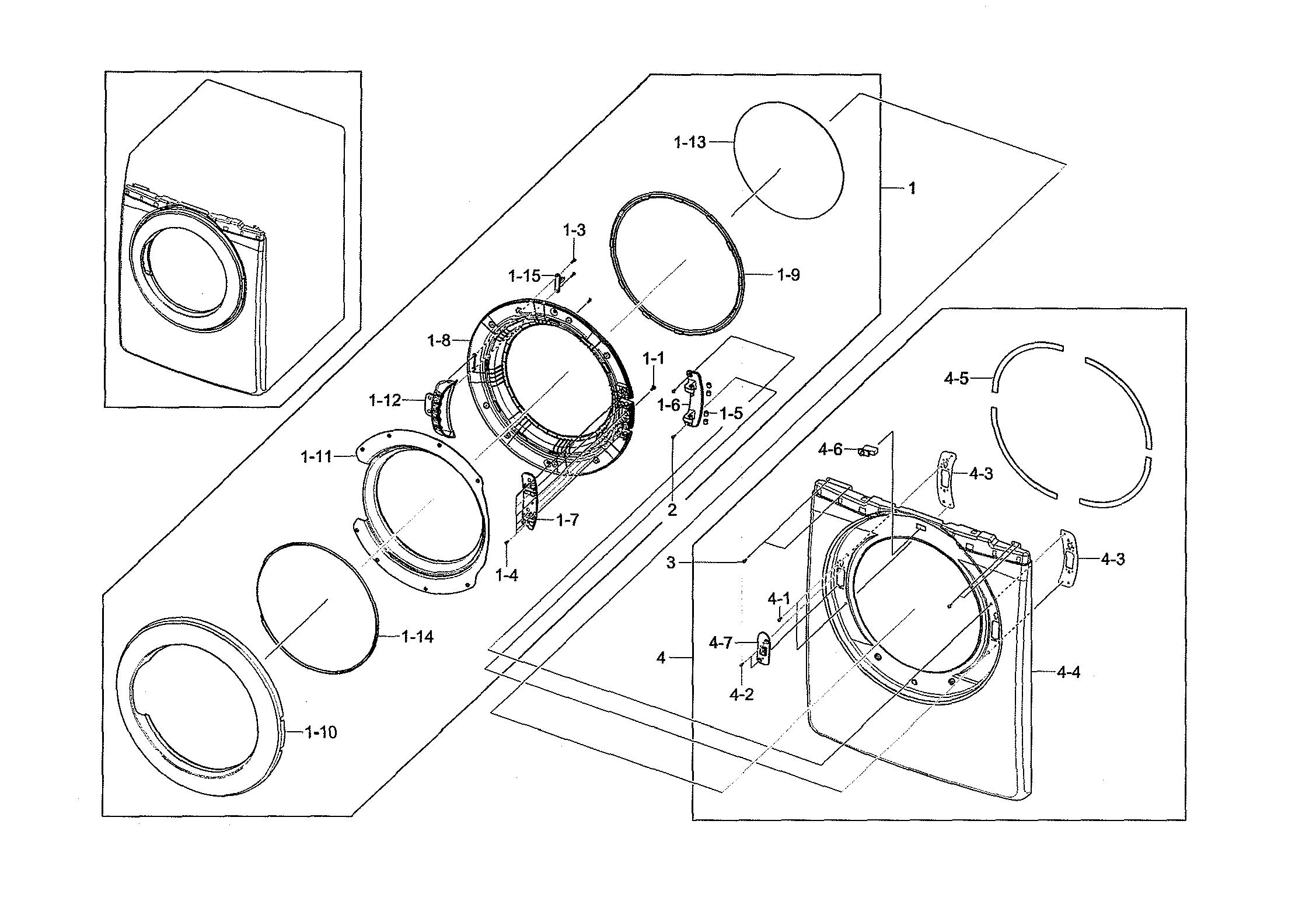 Samsung  Dryer  Front & door