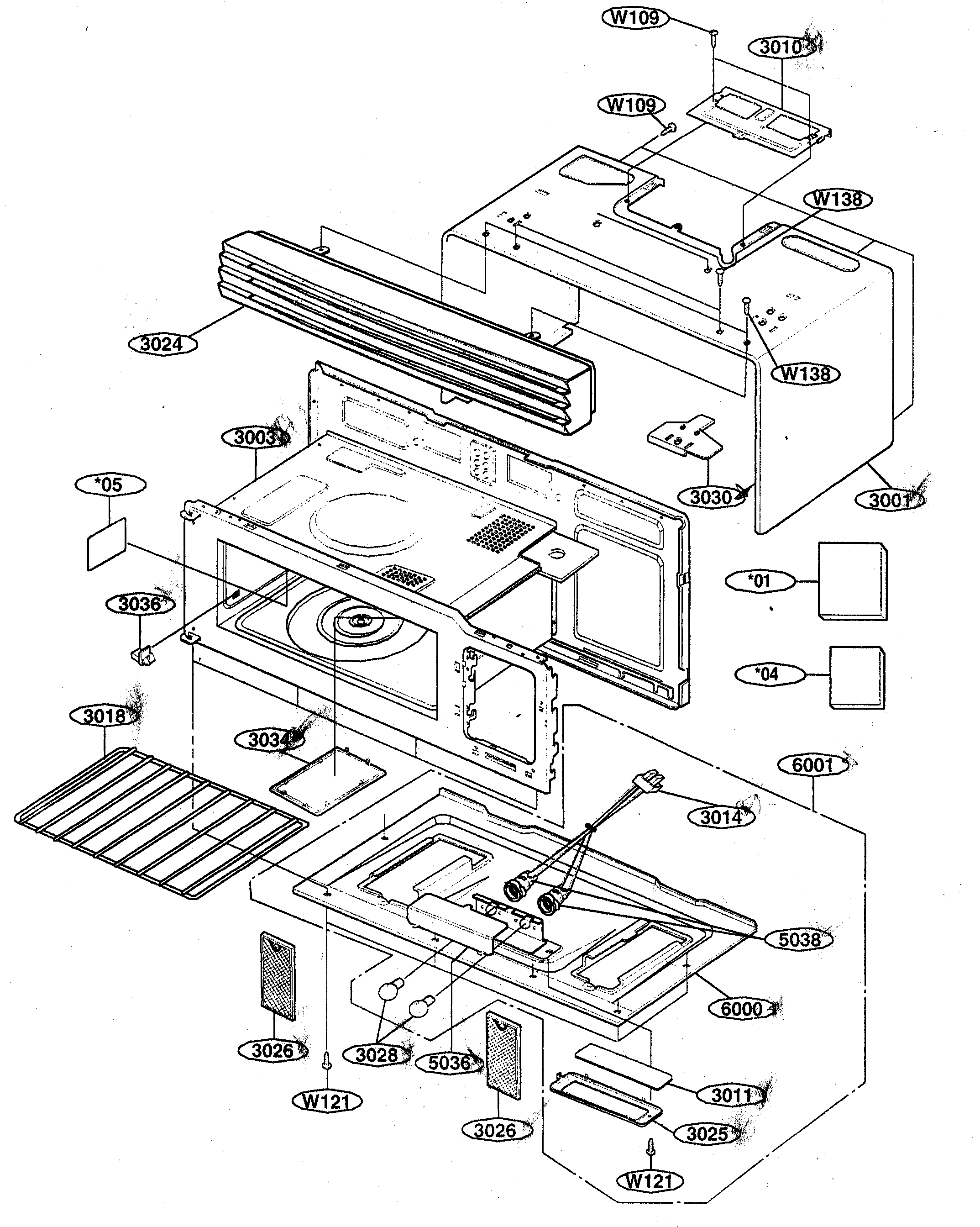 Kenmore 72162649200 oven cavity diagram