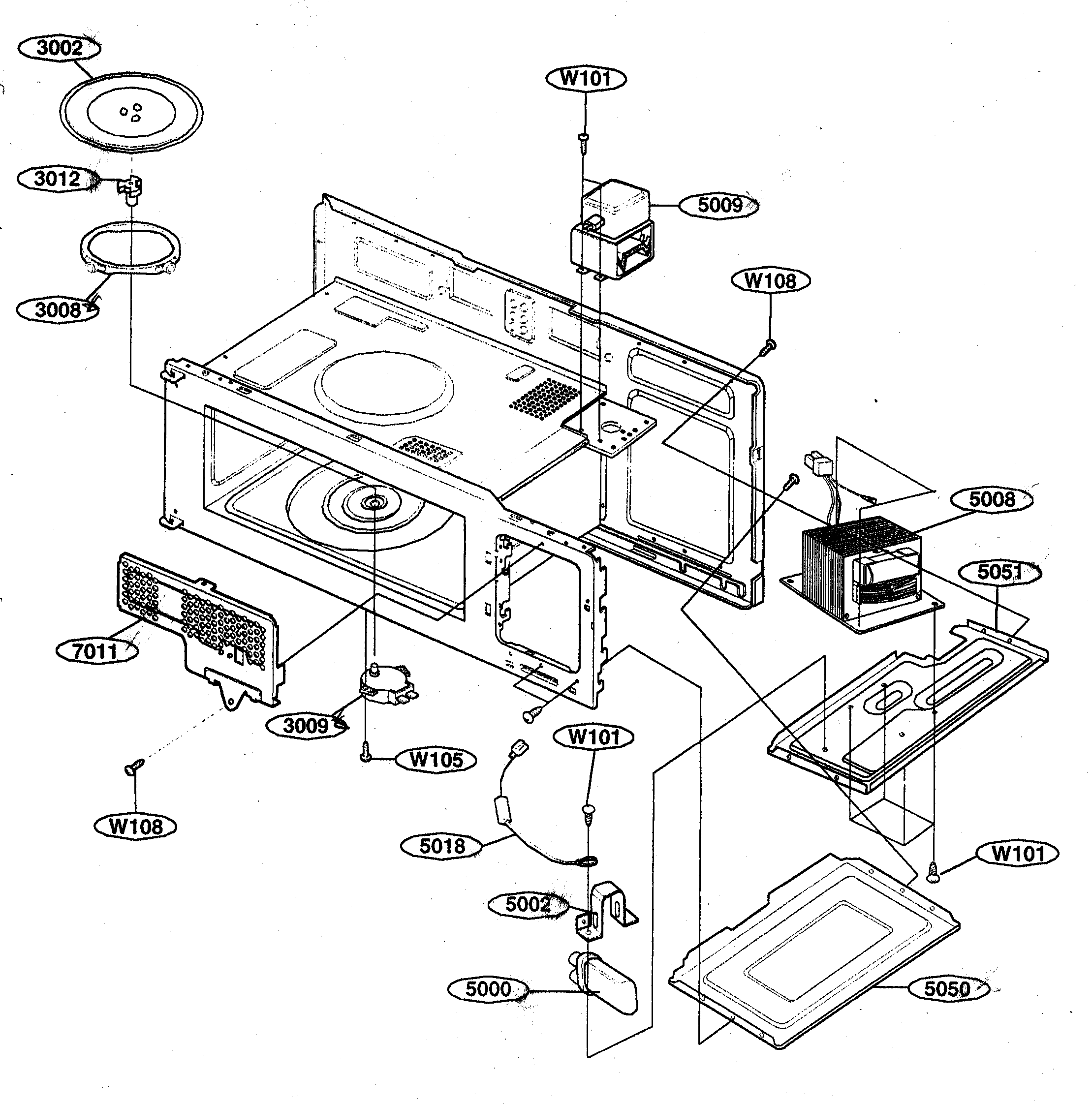 Kenmore 72162649200 interior parts 1 diagram