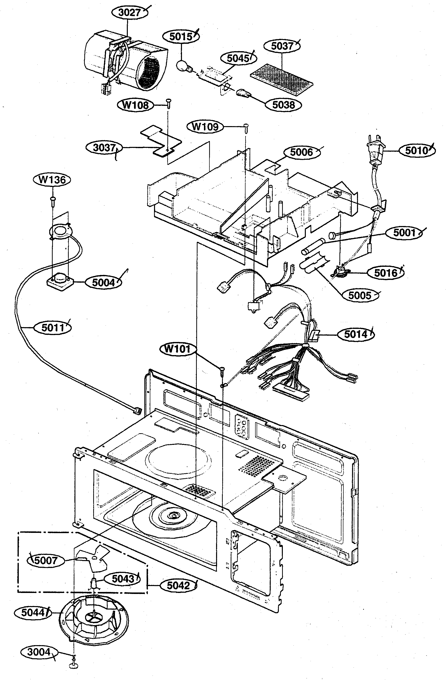 Kenmore 72162649200 interior parts 2 diagram