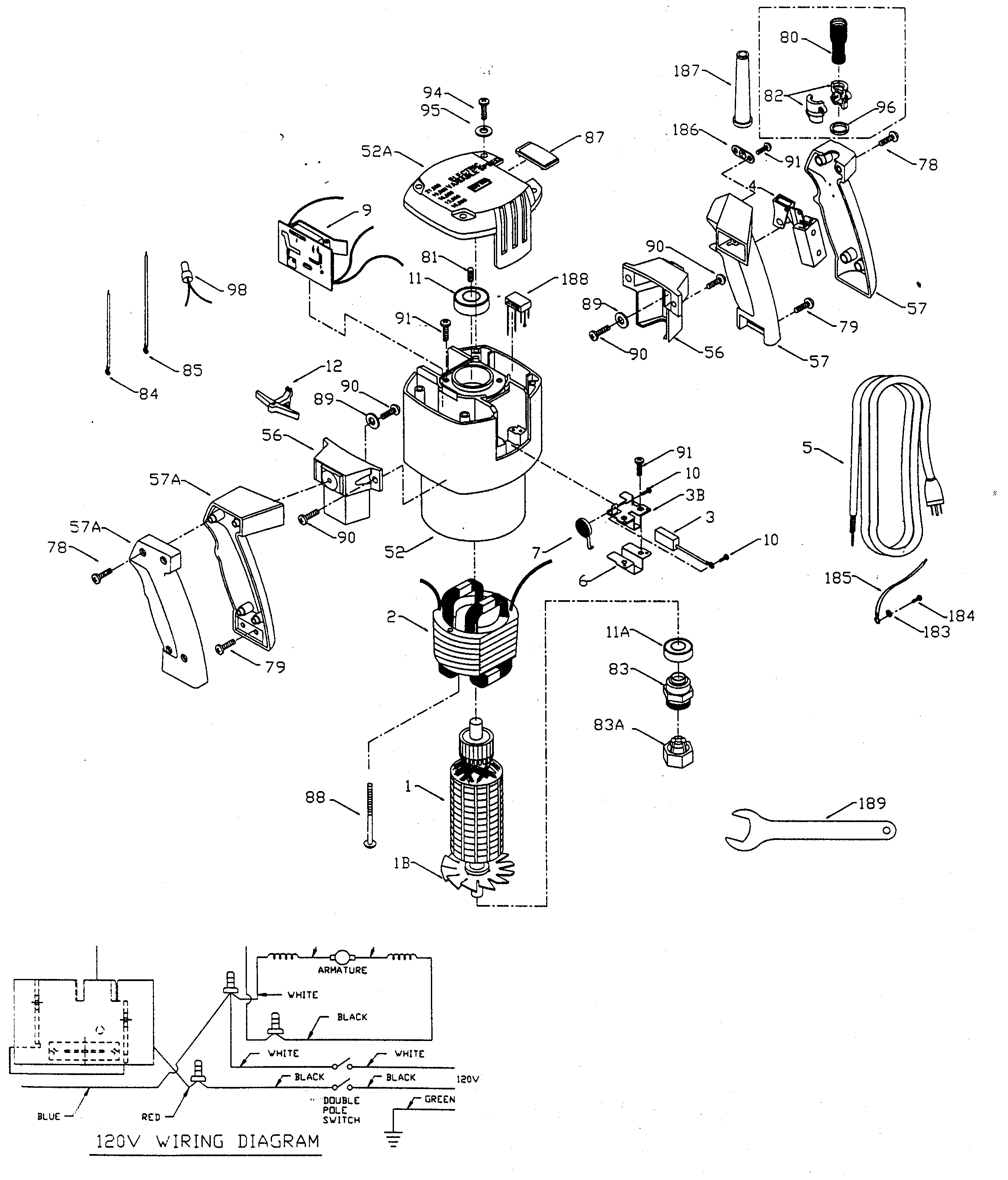 Porter Cable 7539TYPE1 motor assy diagram