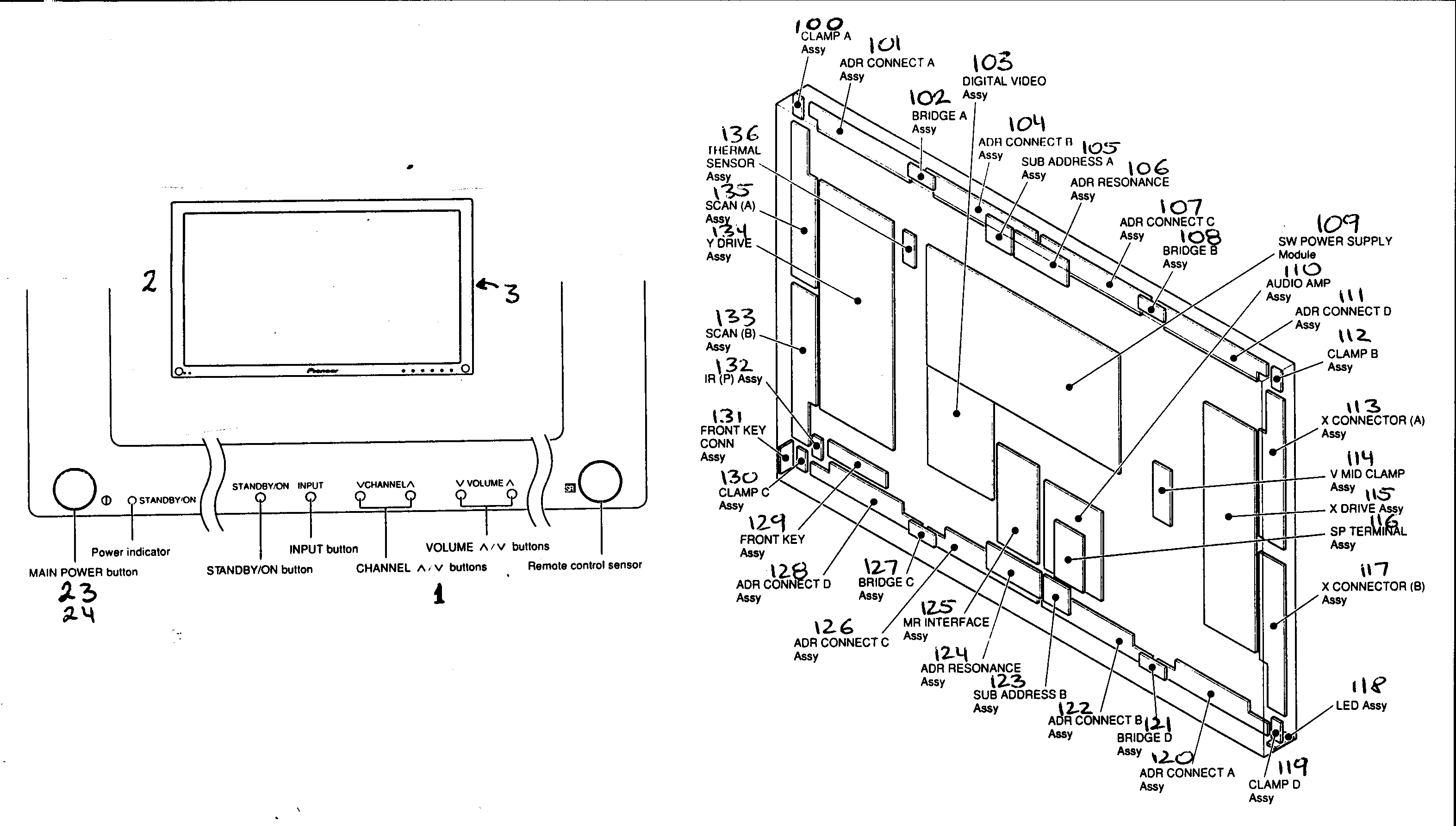 Pioneer PDP-503PU cabinet parts diagram