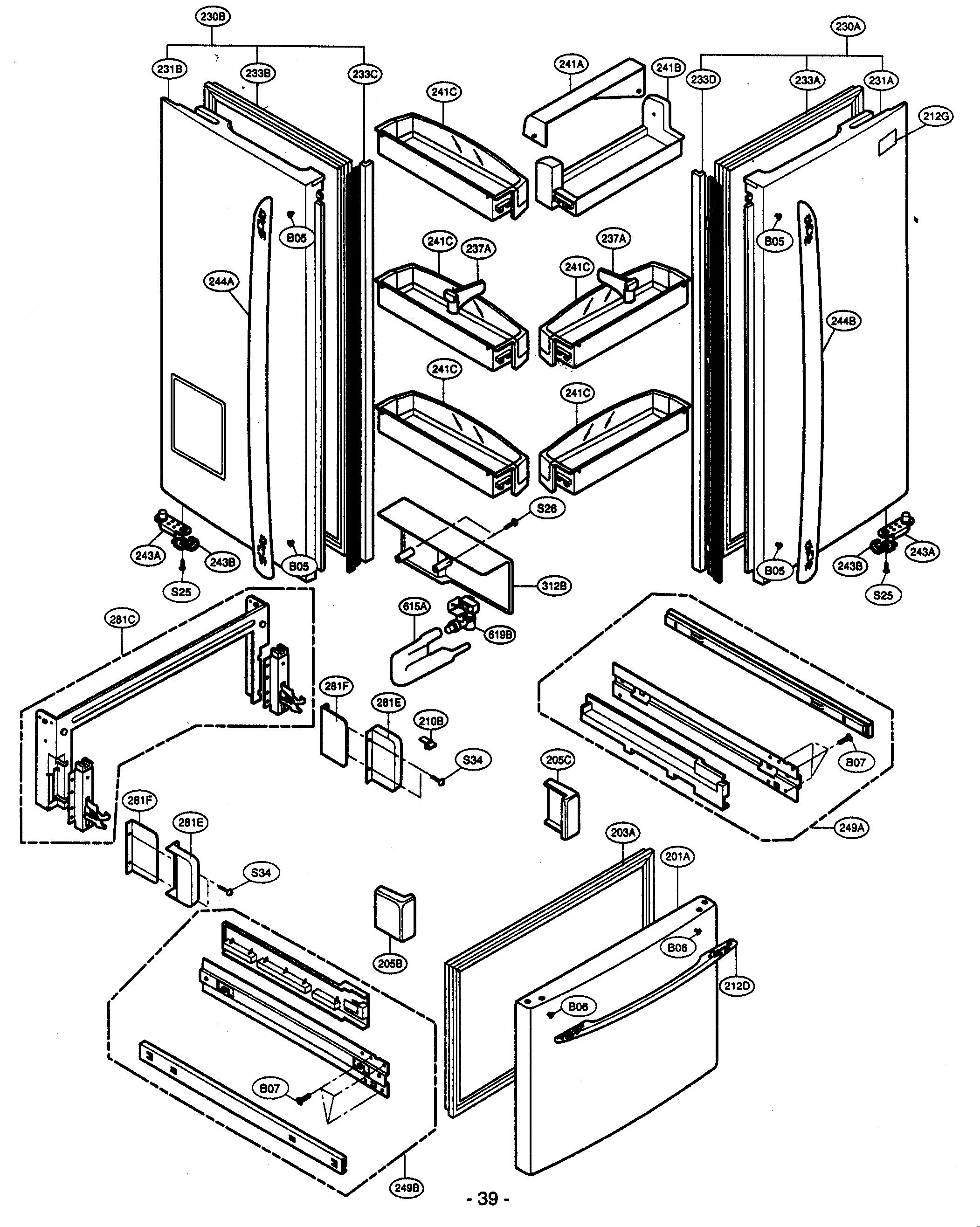 kenmore elite refrigerator case parts