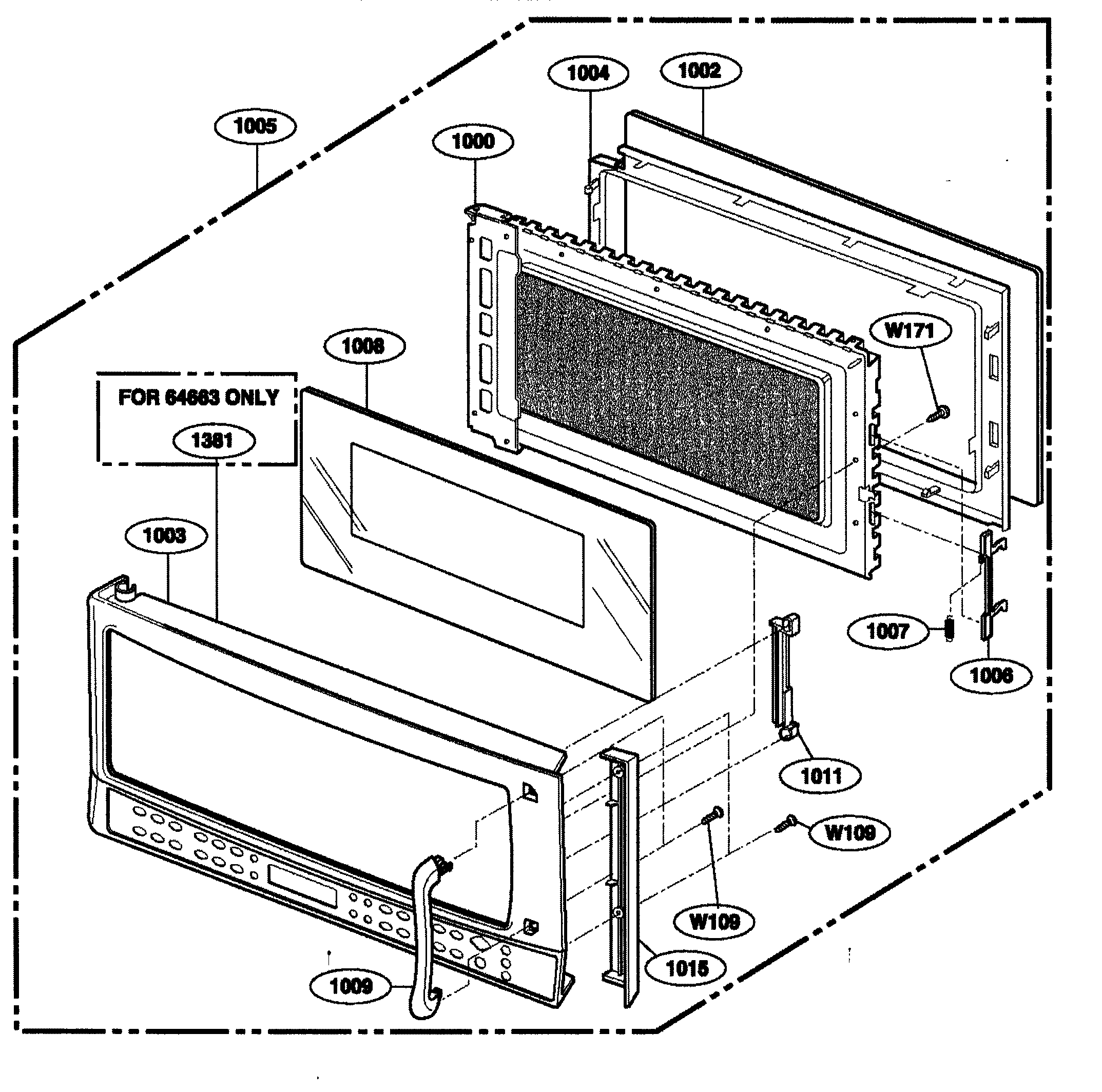 Kenmore 72164663300 door assy diagram