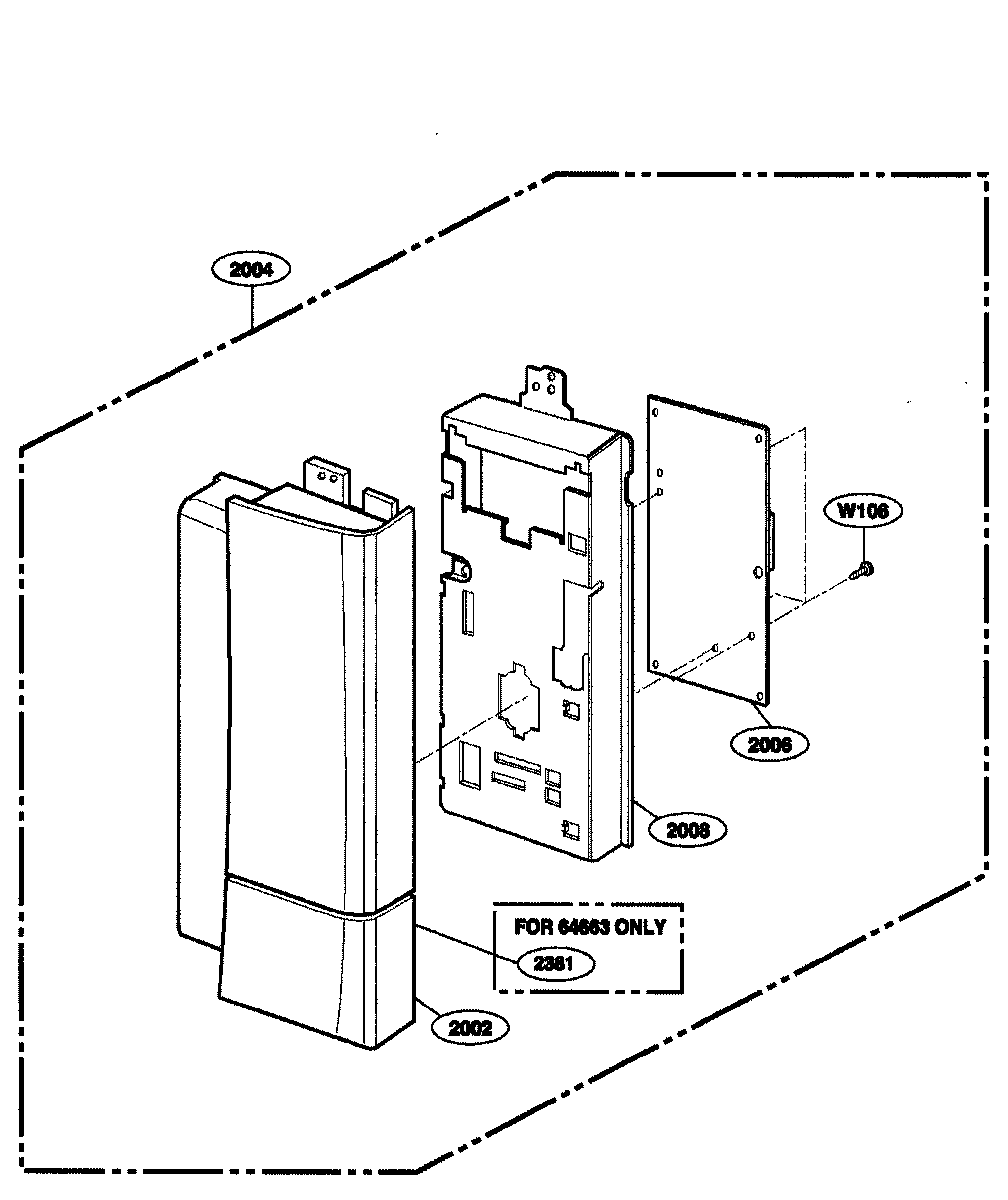 Kenmore 72164663300 controller parts 2 diagram
