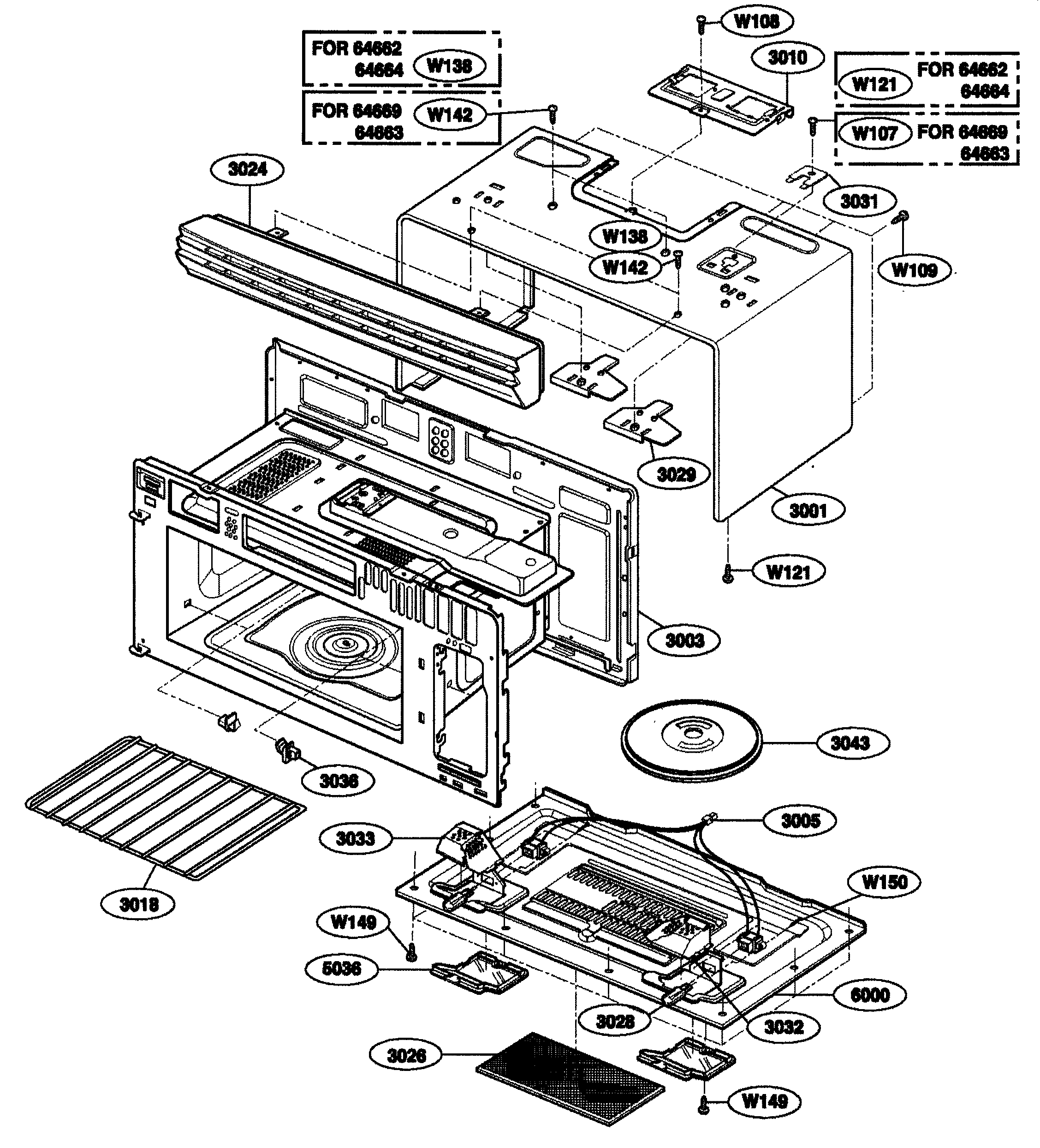 Kenmore 72164663300 oven cavity diagram