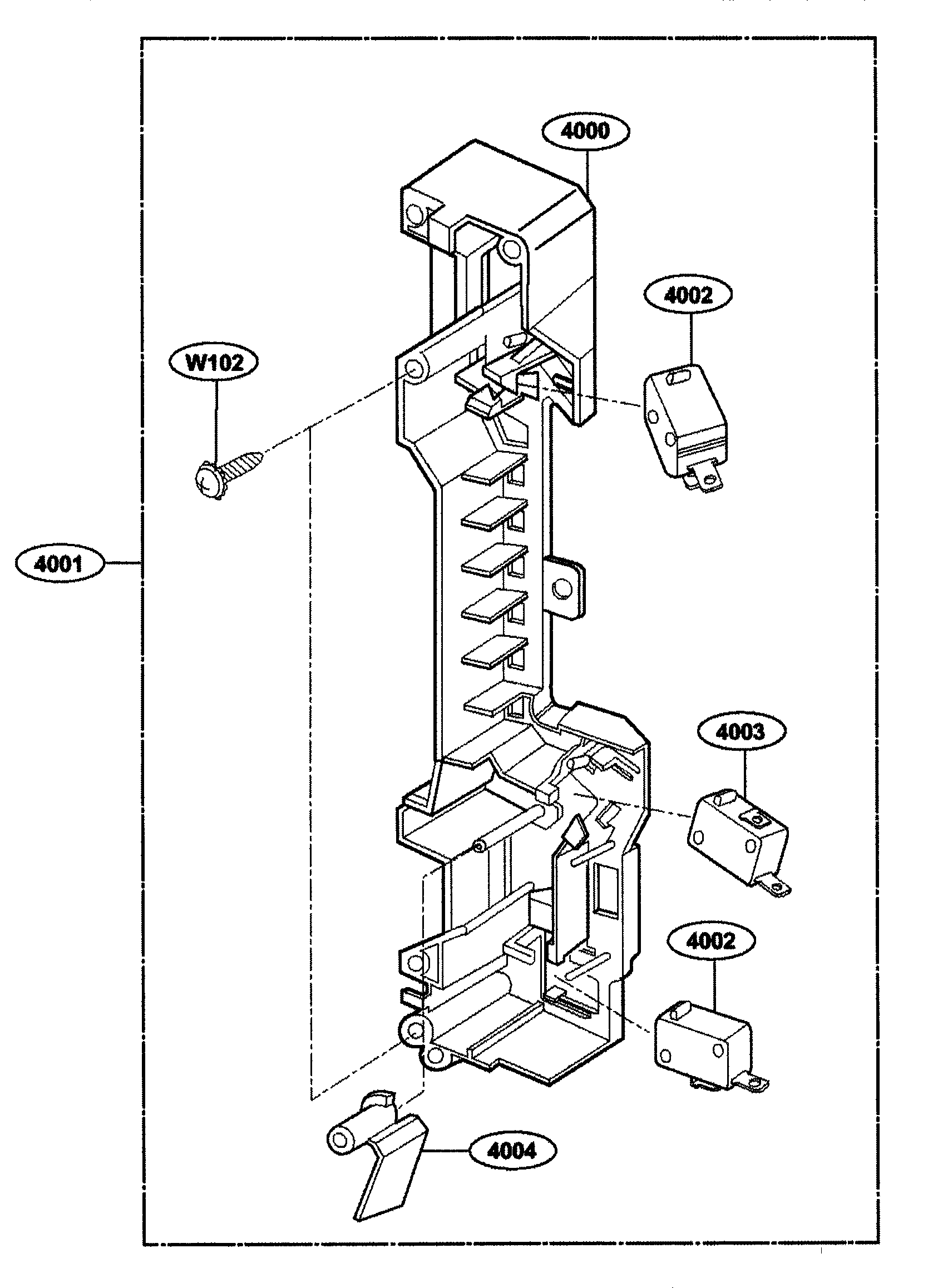 Kenmore 72164663300 latch board diagram