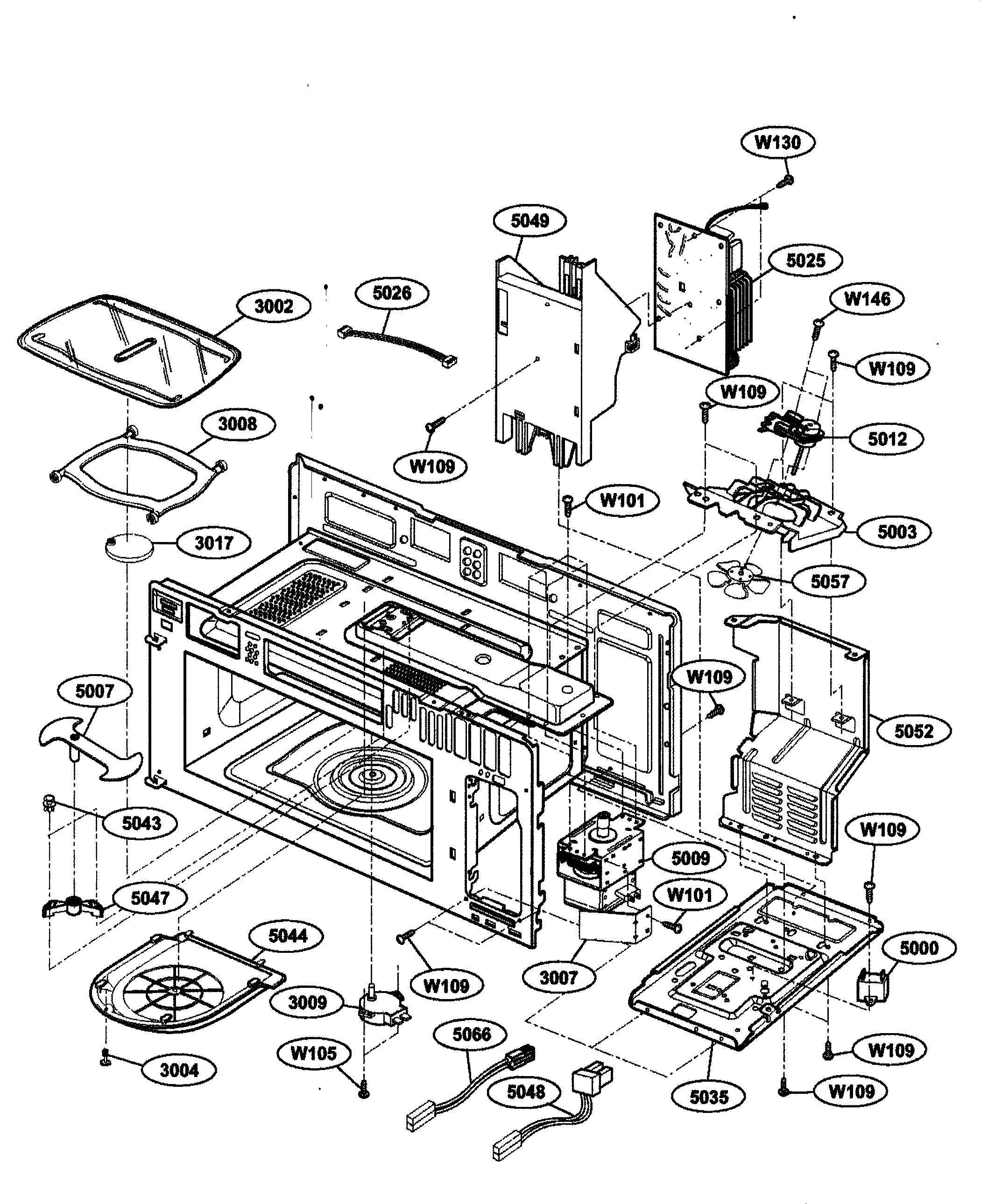Kenmore 72164663300 interior parts 1 diagram