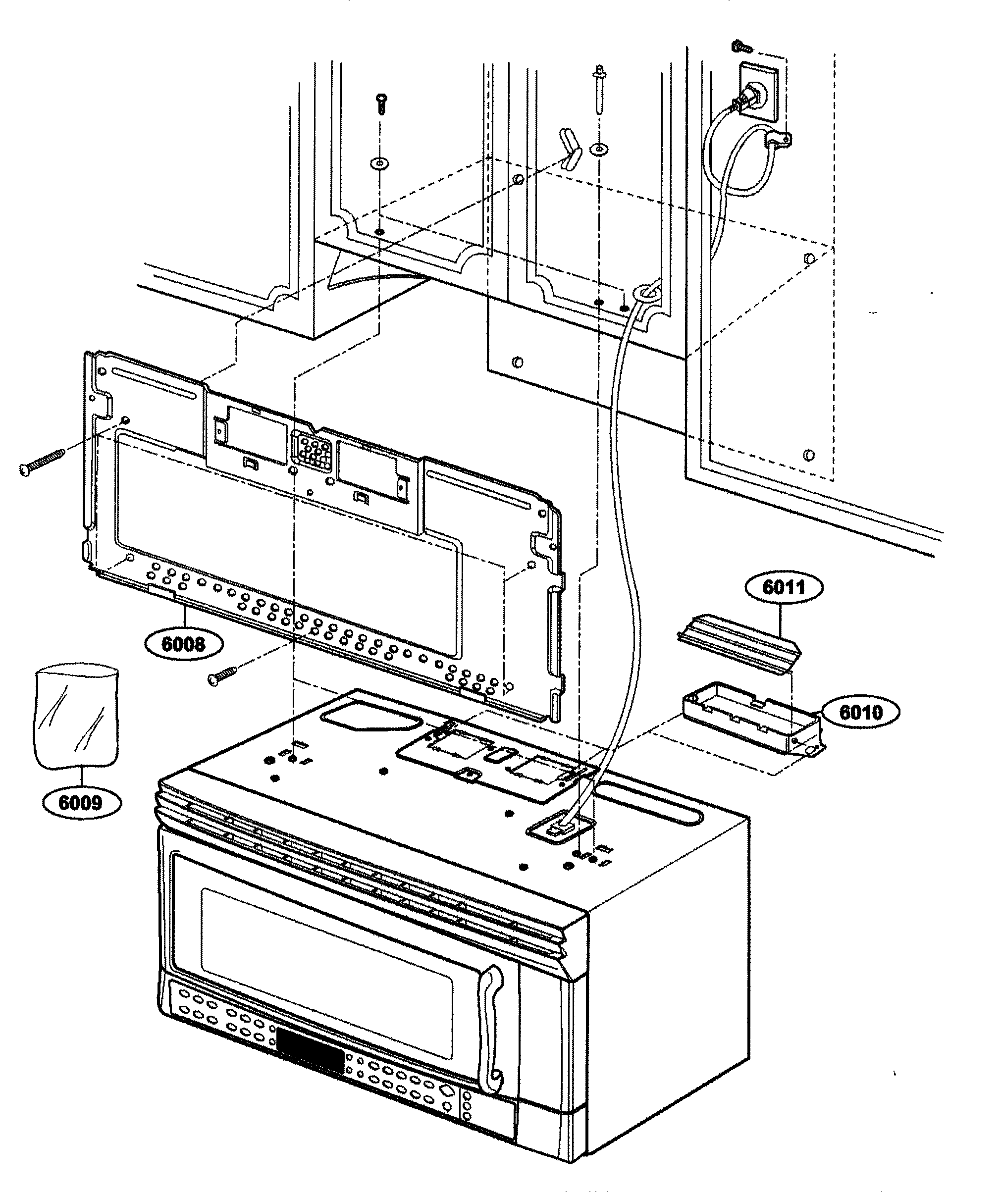 Kenmore 72164663300 installation parts diagram